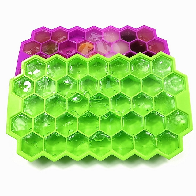 Honeycomb Ice Cube Tray 37 Grid Silicone Ice Maker with Lid Stackable Food Grade Ice Box DIY Honeycomb Ice Cube Mold