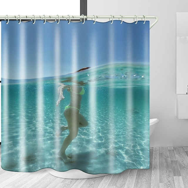 Sea Water Beach Beauty Digital Print Waterproof Fabric Shower Curtain for Bathroom Home Decor Covered Bathtub Curtains Liner Includes with Hooks