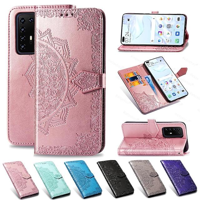 телефон Кейс для Назначение SSamsung Galaxy Чехол Кожаный чехол Кошелек для карт S20 Plus A51 Galaxy A71 Кошелек Бумажник для карт со стендом Цветы Кожа PU ТПУ
