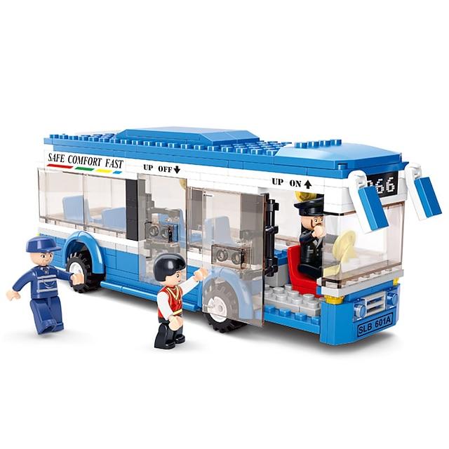 Bouwblokken Educatief speelgoed 235 pcs Bus Tekenfilm verenigbaar Plastic schelp Legoing voortreffelijk Handgemaakt Decompressie Speelgoed Doe-het-zelf Bus Jongens en meisjes Speeltjes Geschenk