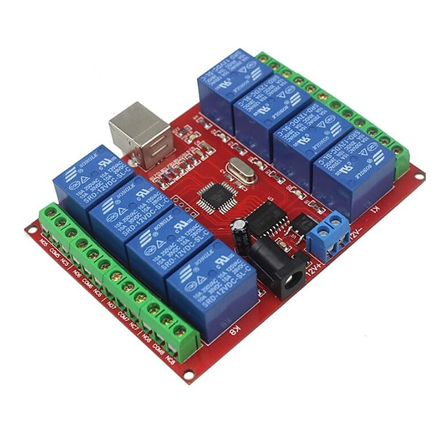 8 Way 12v Computer USB Control Switch Free Drive Relay Module / Pc Intelligent Switch Controller / Red Board