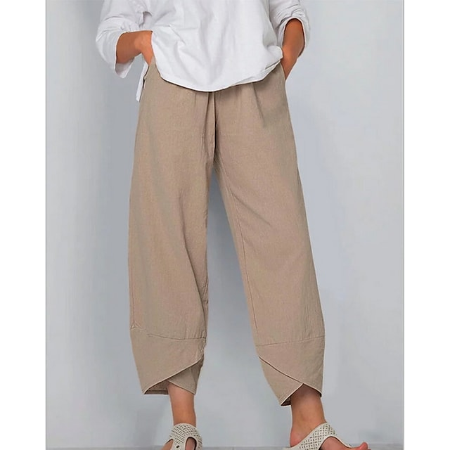 Women's Basic Soft Causal Daily Going out Chinos Pants Solid Colored Classic Split Black Khaki Dusty Blue