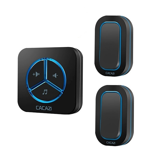 CACAZI Wireless Doorbell Waterproof Battery Button 280M Remote Home Cordless Call Bell Receiver EU US UK AU Plug 48 Chime 6 Volume