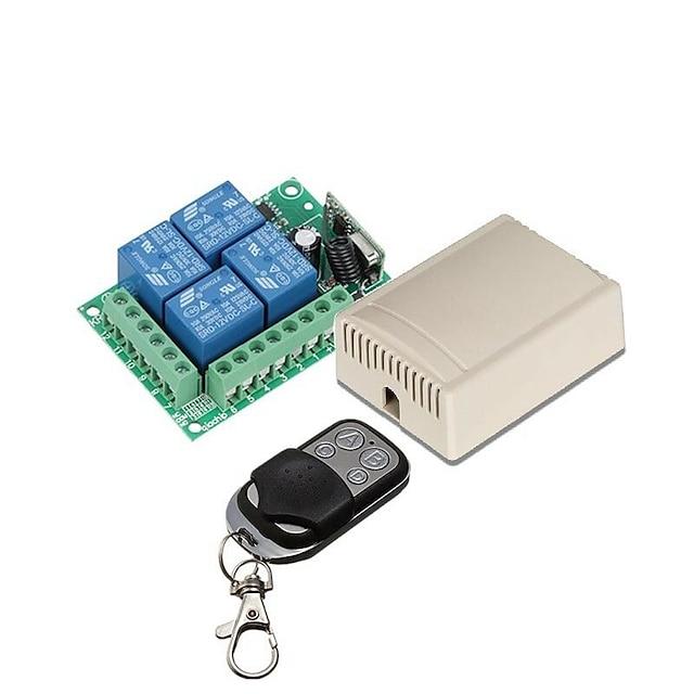 Ασύρματος διακόπτης τηλεχειριστηρίου 433mHz dc 12v 4ch ρελέ δέκτης και πομπός
