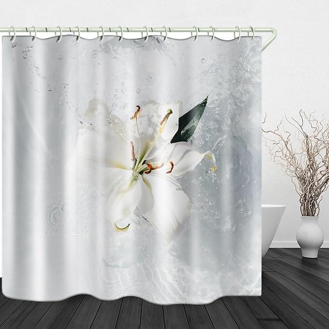 美しい水しぶきデジタルプリント防水布シャワーカーテン浴室の家の装飾で覆われた浴槽のカーテンライナーにはフックが含まれています