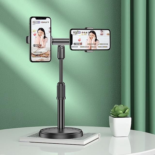 2 sæder fleksibel live stativ universal justerbar mobiltelefon support holder skrivebord stativ dobbelt clips klemmer til live streaming