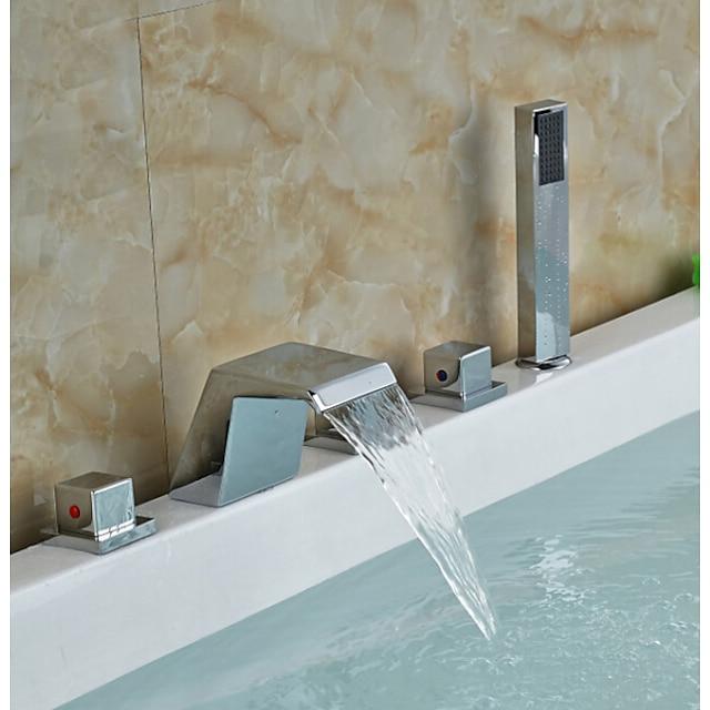 Badkarskran - Nutida Krom Romerskt badkar Keramisk Ventil Bath Shower Mixer Taps