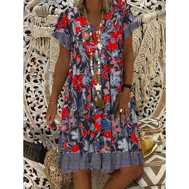 Women's Shift Dress Knee Length Dress Red Short Sleeve Floral Spring Summer Round Neck Hot Elegant 2021 M L XL XXL 3XL 4XL 5XL