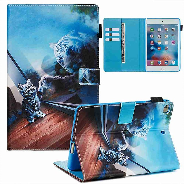 телефон Кейс для Назначение Apple Чехол iPad Mini 3/2/1 iPad Mini 4 iPad Mini 5 Кошелек Бумажник для карт со стендом Кожа PU ТПУ