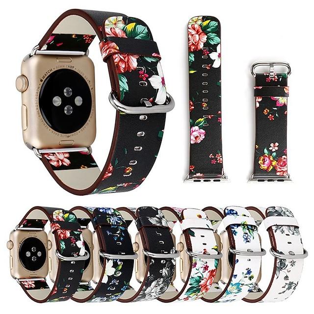 Cinturino intelligente per Apple  iWatch 1 pcs Cinturino sportivo Chiusura classica Di similpelle trapuntata Silicone Sostituzione Custodia con cinturino a strappo per Apple Watch Serie SE