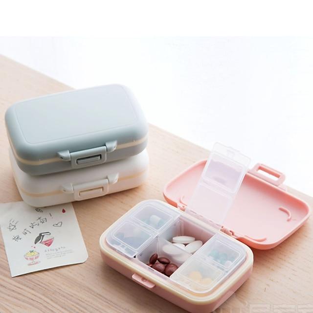 portable 6 compartiments petite médecine boîte mini stockage scellé portable voyage pilule boîte