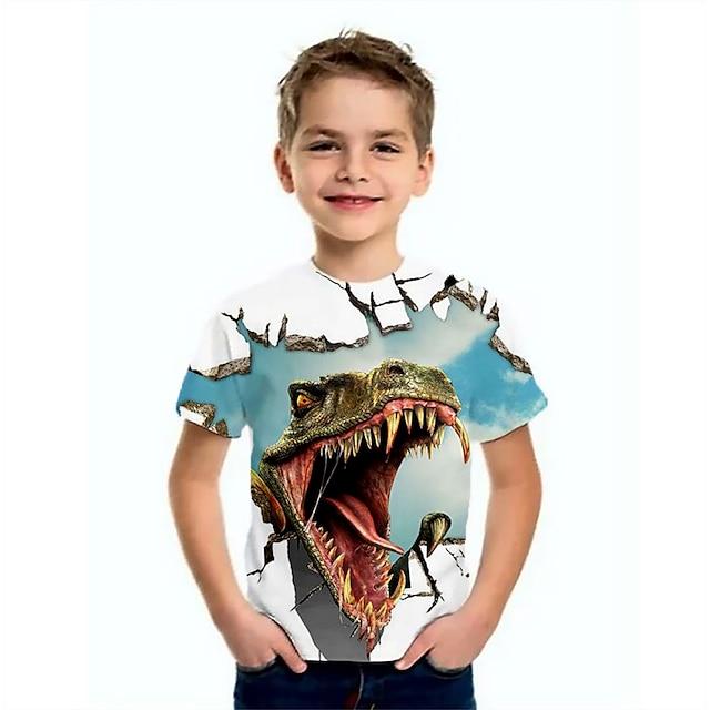 Børn Drenge T-shirt Kortærmet Dinosaurus Dyr Trykt mønster Blå Børn Toppe Sommer Basale Sej