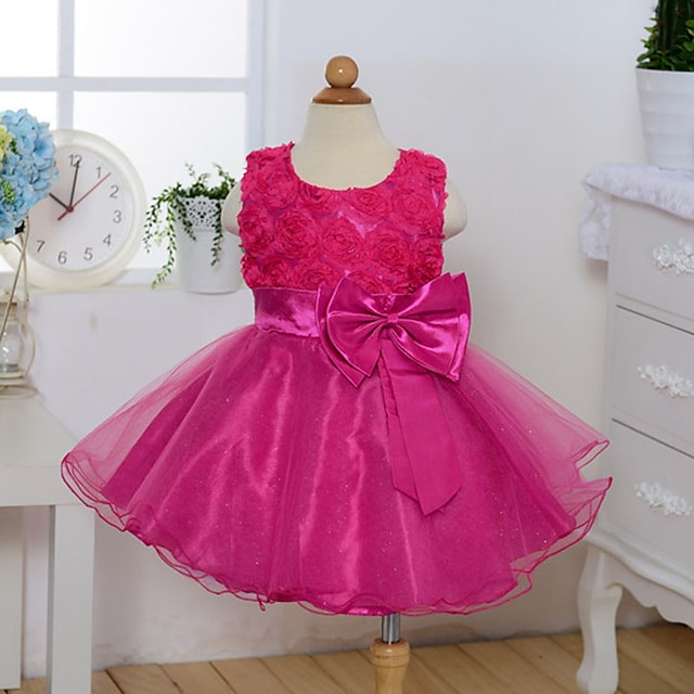 Kids Little Girls' Dress Floral Solid Colored Party Bow White Purple Red Sleeveless Sweet Dresses Spring Slim