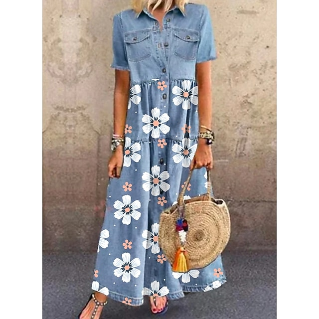 Mujer Vestido camisero vaquero Vestido largo maxi Azul Piscina Manga Corta Floral Bolsillo Botón Estampado Primavera Verano Cuello Camisero Elegante Casual Festivos 2021 M L XL XXL 3XL