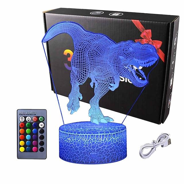 3d dinosaur nattlys - 3d illusjonslampe og16 fargeforandringsdekor lampe med fjernkontroll for dinosaur gaver til barn