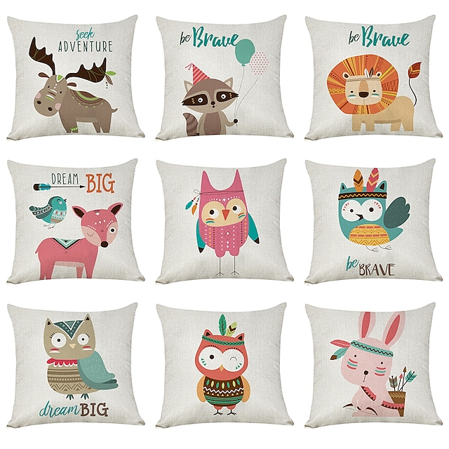 9 pcs Faux Linen Pillow Cover, Cartoon Animals Casual Modern Square Traditional Classic