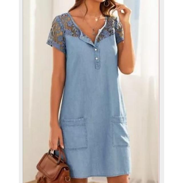 Női Farmer ruhák Rövid mini ruha Világoskék Rövid ujjú Tömör szín Csipke Zseb Gomb Tavasz Nyár V-alakú Alkalmi Szabadság 2021 S M L XL XXL / Pamut / Pamut