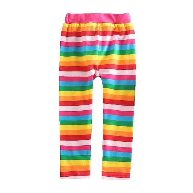 Kids Toddler Girls' Children's Day Leggings Rainbow Red Rainbow Striped Lace up Cotton Basic Tights