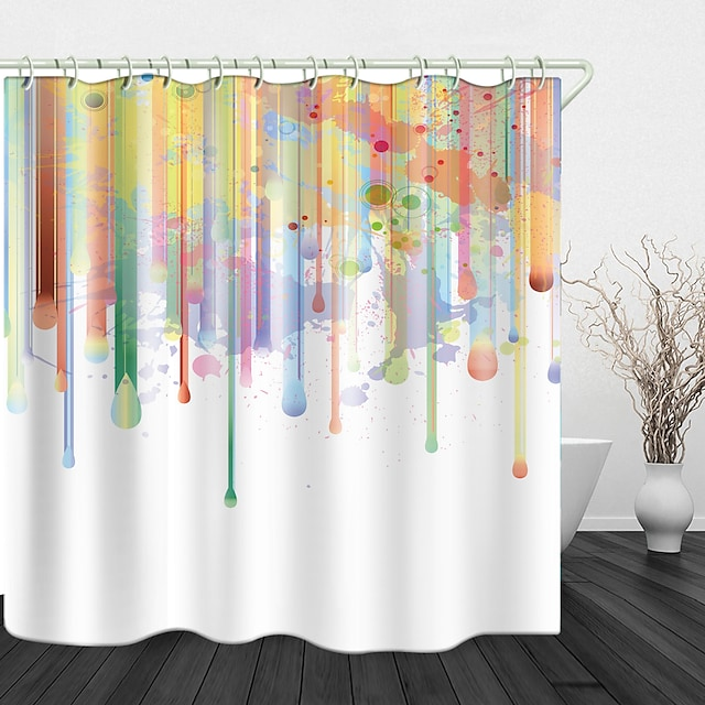 Paint Creative Painting Digital Print Waterproof Fabric Shower Curtain for Bathroom Home Decor Covered Bathtub Curtains Liner Includes with Hooks