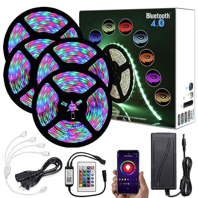 20m (4x5m) App Contrôle Intelligent Bluetooth Musique Sync Bande LED Flexible Lumières 2835 RGB SMD 1080 LED IR Contrôleur Bluetooth 24 Touches avec Kit Adaptateur 12V
