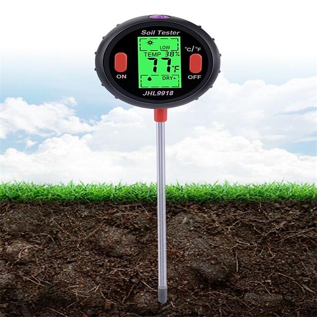 5 en 1 pH mètre numérique sol eau moniteur d'humidité température analyse d'humidité testeur de lumière du soleil pour jardinage plantes agriculture