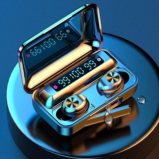 imosi f9 tws 진정한 무선 이어 버드 블루투스 5.0 2000mah 모바일 전원 led 배터리 디스플레이 터치 제어 스마트 폰용 스포츠 피트니스 헤드폰