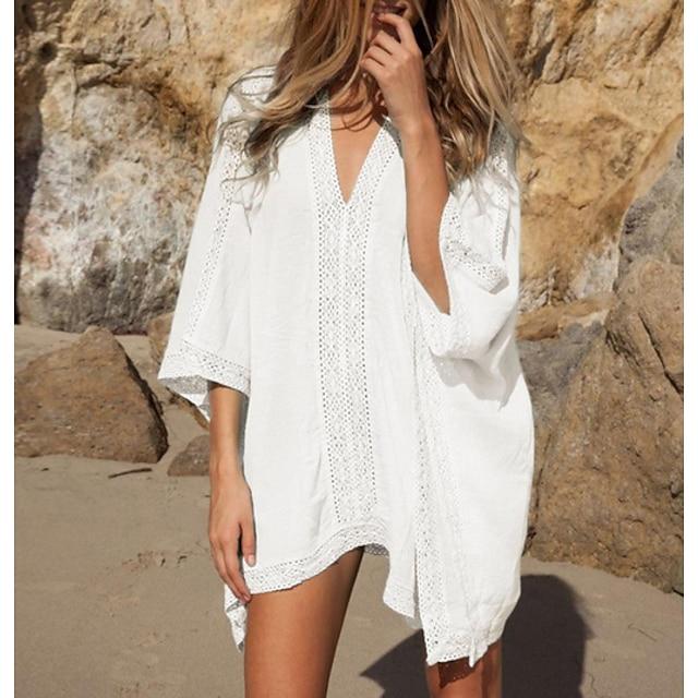 نسائي تغطية الجسم ملابس السباحة لون سادة ملابس السباحة بدلة سباحة أبيض