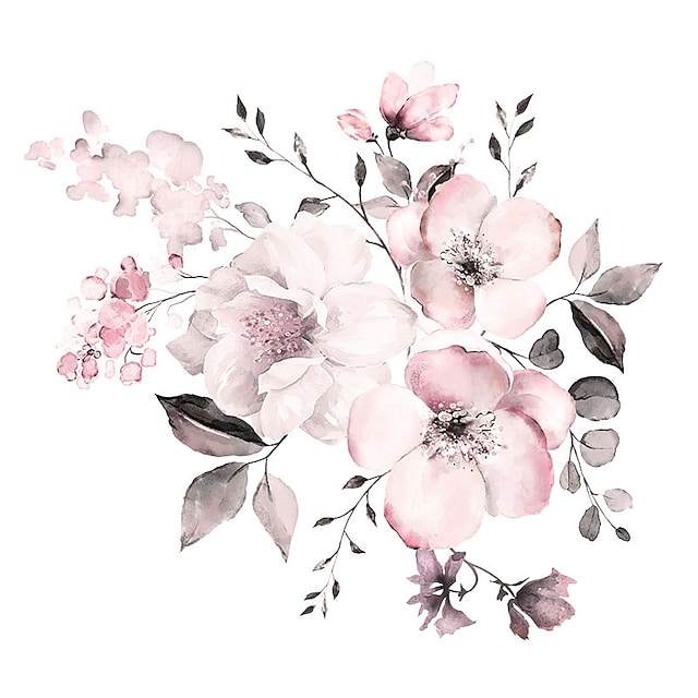 Watercolor Pink Floral / Botanical Wall Stickers Plane Wall Stickers Decorative Wall Stickers PVC Home Decoration Wall Decal Wall Decoration 2pcs 90*30cm Wall Stickers for bedroom living room