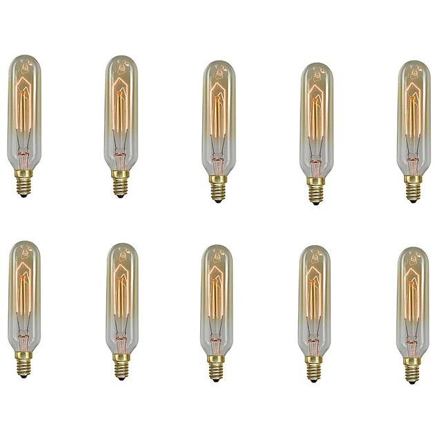 10 قطعة / 6 قطعة 40 واط E14 T10 أبيض دافئ 2200-2700 ك الرجعية / عكس الضوء / الزخرفية المتوهجة خمر اديسون ضوء لمبة 220-240 فولت
