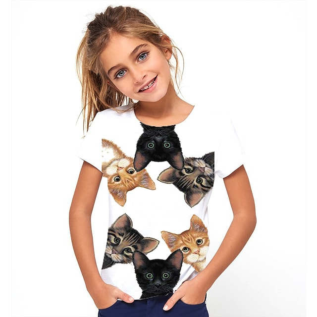 Lapset Tyttöjen T-paita Lyhythihainen Kissa Eläin Painettu Valkoinen Lapset Topit Perus söpö tyyli