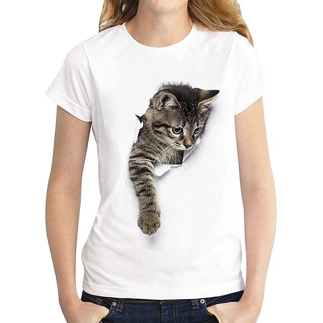 Жен. Футболка Кот Графика 3D С принтом Круглый вырез Классический Верхушки 100% хлопок Темно-коричневый Кот Белый кот