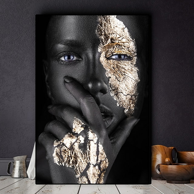 Wall Art Canvas Prints Painting Artwork Picture Portrait Woman African Gold Home Decoration Décor No Frame Unframed Unstretched