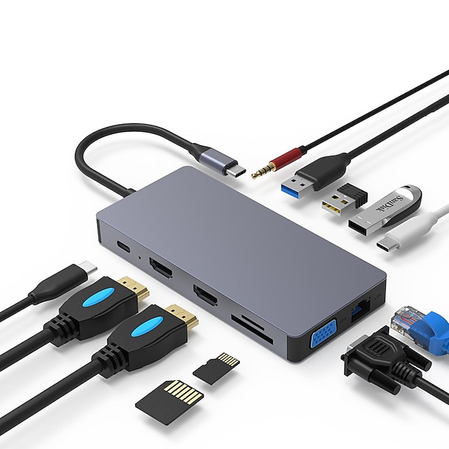 Updated Version USB C Hub POWLAKEN 12 in 1 USB C Adapter with Ethernet 4K USB C to HDMI VGA 2 USB3.0 USB2.0 PD SD TF Card Reader Audio Compatible MacbookPro2020 and Other Type C Laptops