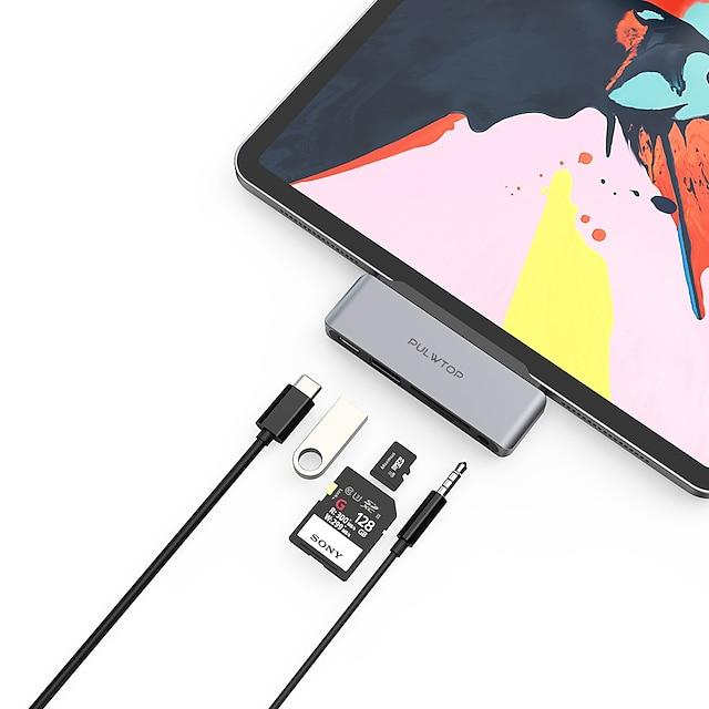 LITBest ハイスピード カードリーダー付き(S) サポート力配達機能 USB-C to USBA 3.0 PD3.0 60W SD/TF Audio3.5mm USB 3.0 USB C に USB 3.0 USB 3.0 USB C 3.5mmオーディオ SDカードサポート TFカード USBハブ 5 ポート 用途 Windows、PC、ラップトップ