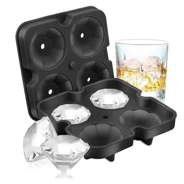 4 Grilles Diamant Bac À Glaçons Réutilisable Glaçons Maker Silicone Moules À Crème Glacée Forme Moule À Chocolat Whisky Party Bar Outils