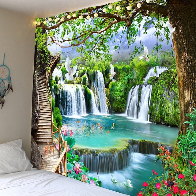 frumoasă scară din lemn cascada peisaj tapiserie atârnată pânză de pânză pânză decorativă pânză agățată