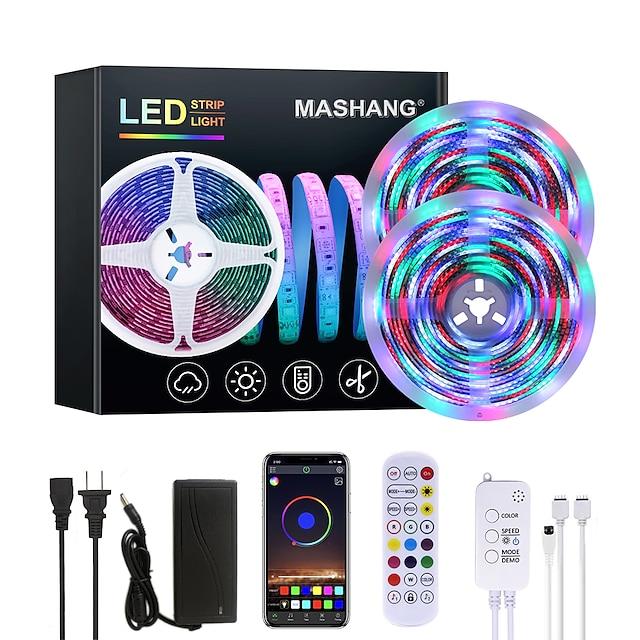 Mashang lumineux 10 m rgbw led bandes lumineuses étanche musique sync smart led tiktok lumières 2340leds 2835 changement de couleur avec 24 touches télécommande bluetooth contrôleur pour la maison