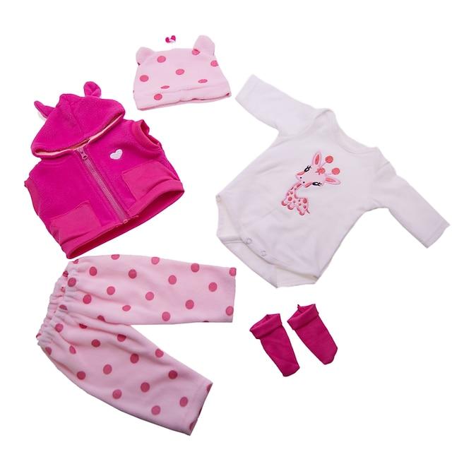 Vêtements de poupées Reborn Baby Accessoires de poupée Reborn Tissu en Coton pour poupée Reborn 17-18 pouces Poupée Reborn Non Incluse Girafe Doux Pur fait main Fille 5 pcs