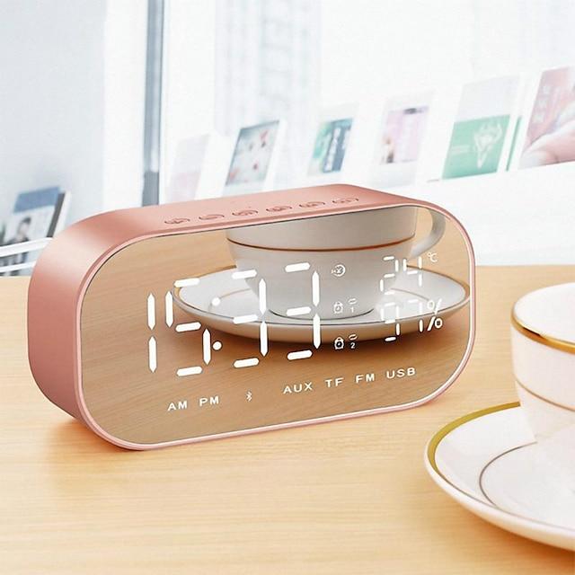 LED-Wecker mit FM-Radio Wireless Bluetooth-Lautsprecherspiegel Display-Unterstützung Aux TF USB-Musik-Player Wireless für Büro zu Hause