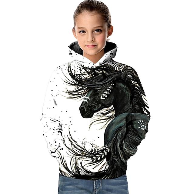 ילדים בנות קפוצ'ון וטרנינג שרוול ארוך סוס מודפס בתלת מימד גיאומטרי חיה כיס לבן יְלָדִים צמרות פעיל בסיסי אופנתי ספורט חוץ 2-13 שנים