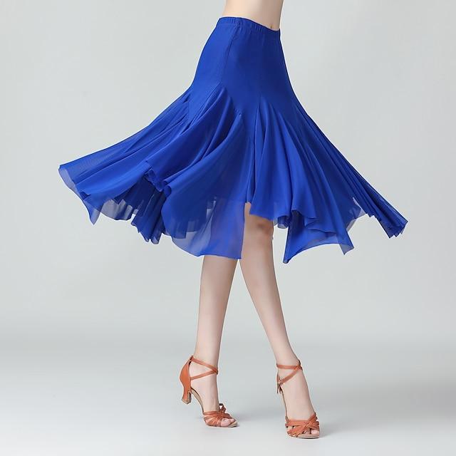 볼륨 댄스 치마 솔리드 여성용 트레이닝 성능 일상복 높음 폴리에스테르