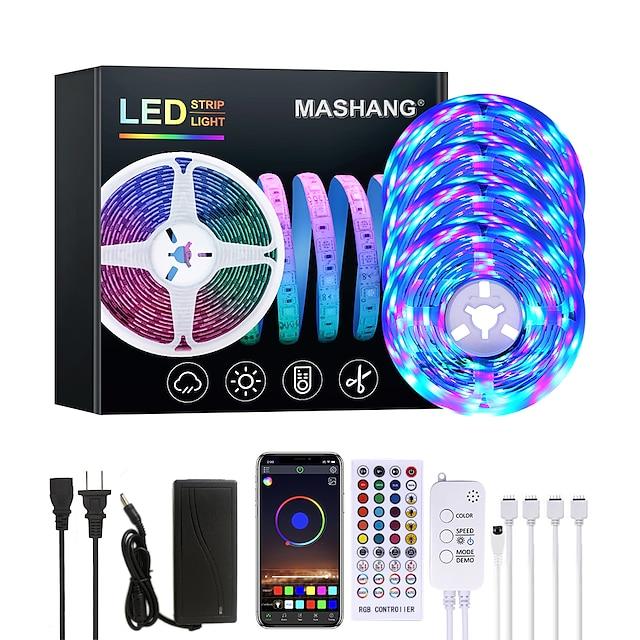 LEDストリップライト音楽同期20mrgb1200ledsLEDストリップ2835smd色変更LEDストリップライトBluetoothコントローラーと寝室のホームパーティー用の40キーリモートLEDライト