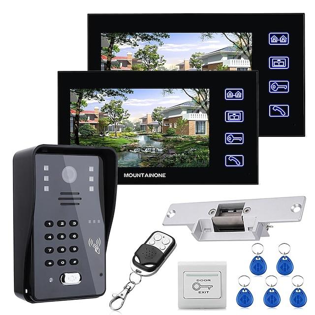 mountainone 7 lcd to skjermer video dør telefon intercom system rfid dør tilgangskontroll kit utekamera elektrisk streik låsbar trådløs fjernkontroll