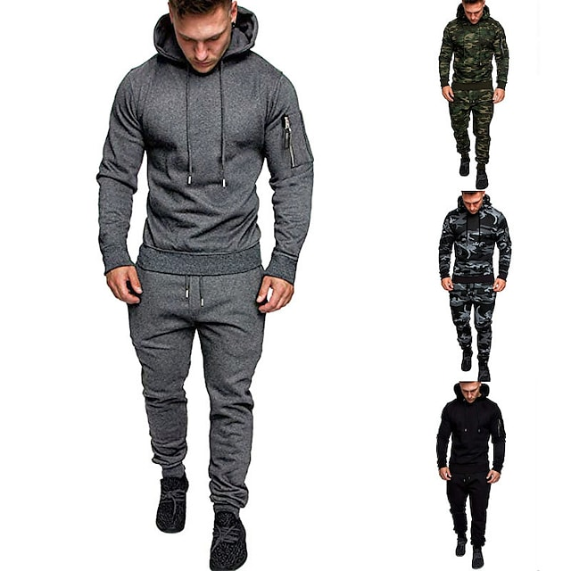 Men's 2 Piece Tracksuit Sweatsuit Street Casual Long Sleeve Cotton Thermal Warm Moisture Wicking Breathable Fitness Gym Workout Running Active Training Jogging Sportswear Hoodie Dark Grey Camouflage