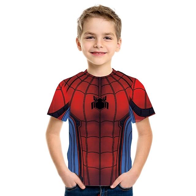 Kids Boys' T shirt Tee Short Sleeve Anime Color Block Geometric 3D Print Children Summer Tops Basic Streetwear Rainbow