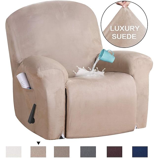sillón reclinable stretch sofa cover slipcover elástico protector de sofá con bolsillo para tv remote books plain color sólido repelente al agua soft durable