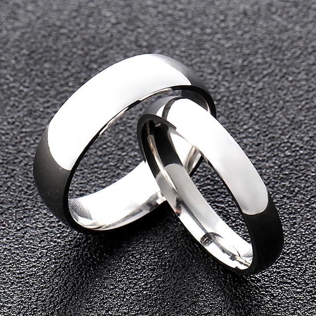 Band Ring Stil Clasic Argintiu Rege regina Oțel titan Prietenie Simplu / Pentru cupluri / Inel