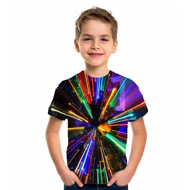 أطفال للصبيان تي شيرت كنزة مطبوعة كم قصير 3D طباعة ألوان متناوبة هندسي التقزح اللوني أطفال قمم الصيف أساسي عطلة أناقة الشارع