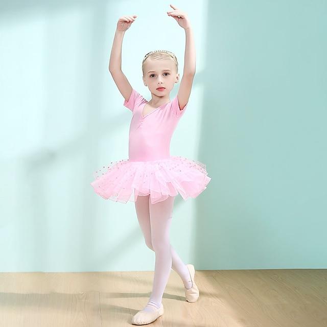 Ballet Robe Dentelle Ruché Combinaison Fille Entraînement Utilisation Manches Courtes Taille haute Spandex Dentelle
