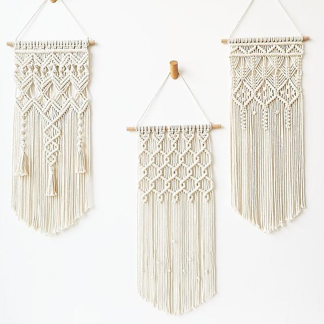 1 pièces tissé à la main en macramé tapisserie murale bohème boho art décor couverture rideau suspendu maison chambre salon décoration nordique à la main gland coton géométrique